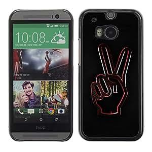 TopCaseStore / la caja del caucho duro de la cubierta de protección de la piel - Peace Hand Sign - HTC One M8