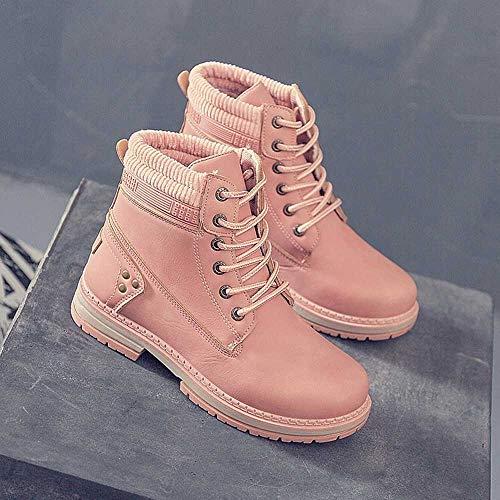 Sneakers Boots Lacets Basket Bottes Martin Uni Rose Bottines À Court Femme Mode De Sport Chaussure Chaudes Hiver Loisirs Zezkt 6Ywftqq