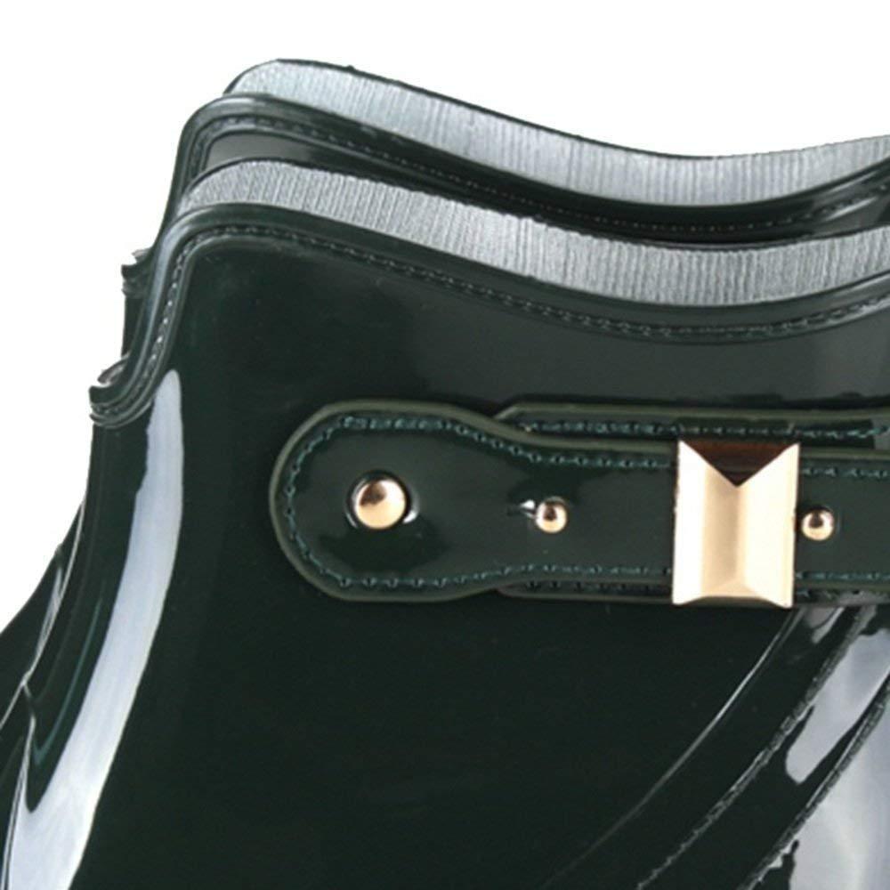 Qiusa Regen Stiefel Mode Damen Sommer High Light Light Light Wasser Schuhe Flache Rutschfeste Erwachsene (Farbe   Grün Größe   EU40 UK7 CN41) 7fb028