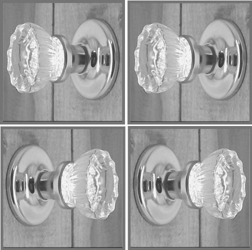 Dummy Spindle (TWO PREMIUM SETS - Depression Crystal Glass FRENCH DOOR Knob Sets No Exposed Rosette Screws - Each lot contains all the hardware for knobs on both sides of Two French Doors (Brushed Nickel))
