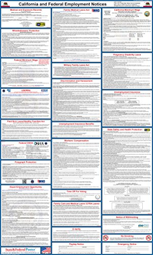"""2016 California State and Federal Labor Law Posters - Laminated 24"""" x 40"""" by Labor Law Posters"""