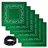 Basico Bandanas Value Pack 100% Cotton Paisley Head Wrap with Tube Face Mask/Headband (6pk- Kelly Green)