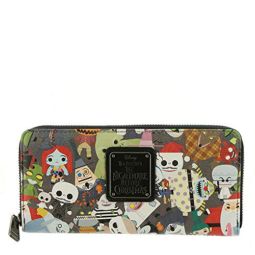 Loungefly x Nightmare Before Christmas Chibi Character Print Zip-Around Wallet (Multi, One Size) ()