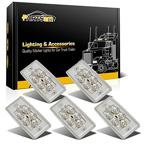 Partsam Roof Running Top Marker Light 5pcs 6LED Clear Lens Waterproof Cab Lights Replacement for Freightliner Volvo Heavy Duty Trailer ()