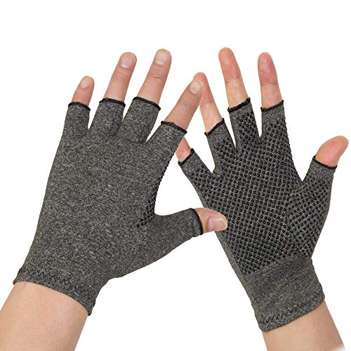 Arthritis Gloves 2 Pairs - Men and Women Fingerless Compression Glove Pain Relief for Rheumatoid Arthritis and Osteoarthritis (L/XL)