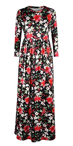 Dress Party 4 Sleeved 3 Sleeve Neck Printed Coolred Long 1 Round Women tvwxznq0U