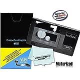 Motorized VHS-C Cassette Adapter For JVC C-P7U CP6BKU C-P6U,Panasonic PV-P1,RCA VCA115 + 1 VCC113 Micro-Fiber ClothTM by VCC113