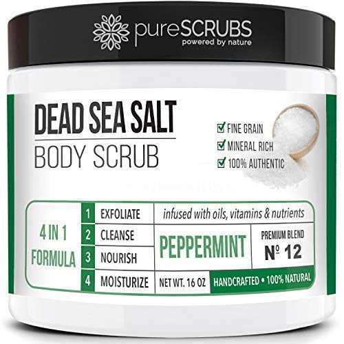 Premium Organic Body Scrub Set - Large 16oz PEPPERMINT BODY SCRUB - Pure Dead Sea Salt Infused With Organic Essential Oils & Nutrients + FREE Wooden Spoon, Loofah & Mini Organic Exfoliating Bar Soap