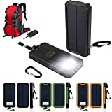 New Portable Solar Power Bank Charger Panel with Flashlight Brightness LED light Lamp 12000mAh Dual USB Battery Exterrnal Charger for Outdoor Camping Hiking Cycling Travelling (Black)