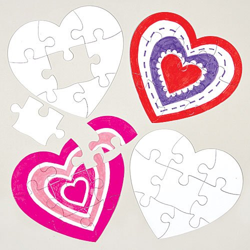 Heart Jigsaw Puzzles for Children to Design Color-in
