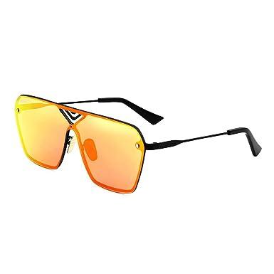 241e6cc385 Menton Ezil Rock Terminator Style Sunglasses Mens Oversized Flat Top  Reflective Mirror Lens Rimless Fashion Glasses  Amazon.co.uk  Clothing