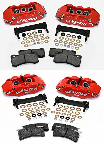 NEW WILWOOD RED BRAKE CALIPER, PAD, AND BRACKET SET FOR 06-13 CHEVY CORVETTE C-6 Z06, 04-10 CADILLAC XLR, & 97-05 CORVETTE C-5 THAT HAVE 06-13 ROTORS, 6 PISTON FRONT & 4 PISTON REAR, CHEVROLET VETTE 04 Front 4 Piston Brake