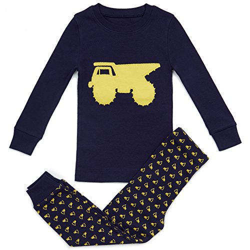 Bluenido Boys Pajamas Dump Truck 2 Piece 100% Super Soft Cotton 7Y Navy/Yellow]()