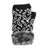 LL- Womens Winter Knit Fingerless Fashion Gloves Fleece Lined Assorted Patterns and Colors (Black)