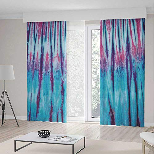 ALUONI Windows Blackout Curtain,Tie Dye Decor,Living Room Bedroom Décor,Close Up Vertical Gradient Tie Dye Figures Hippie Alter Life Retro Artwork2 Panel Set,79W X 83L Inches
