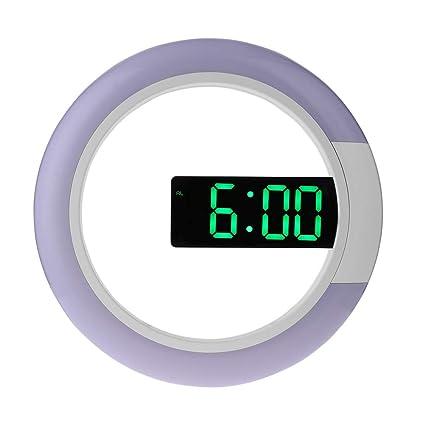 Vosarea Reloj de Pared de Techo LED Reloj Espejo Espejo Reloj Despertador Digital con Mando a