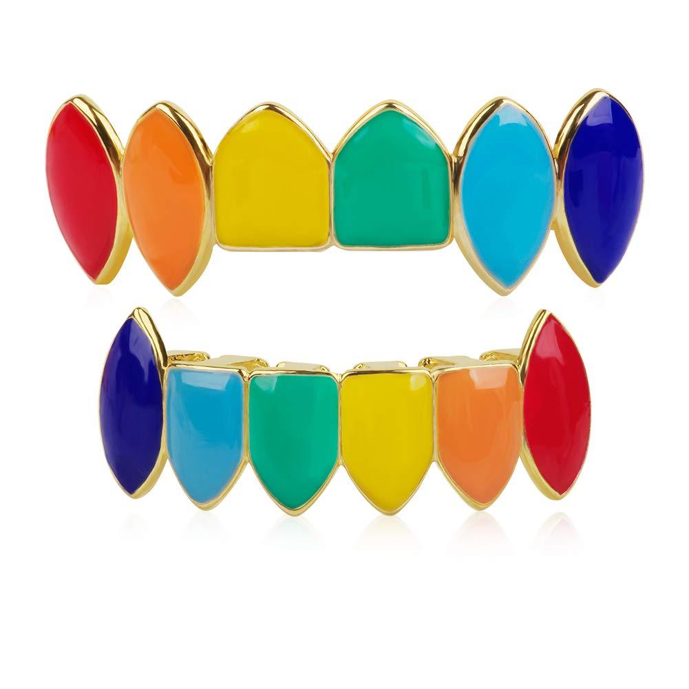 TSANLY Gold Grillz Set Rainbow Style Like Tekashi69 Set 24K Plated Gold Best Grillz for Kids