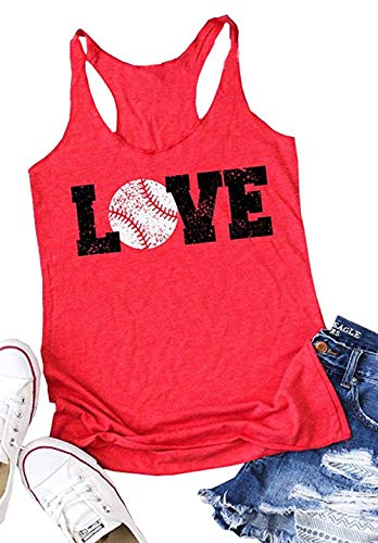 (Love Baseball Mom Racerback Tank Tops Women Casual Summer Graphic Cute Sleeveless Shirts Tees (Large, Red))
