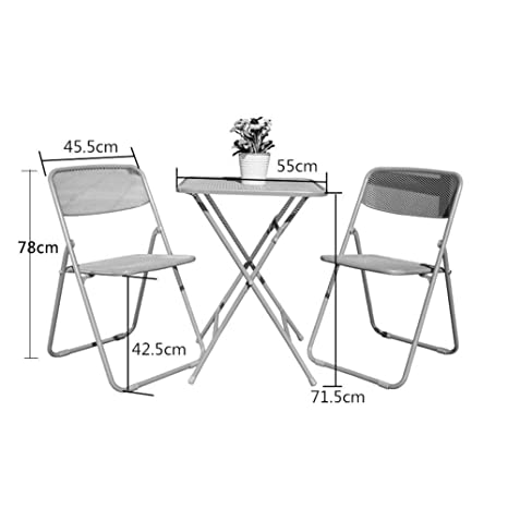 WLG Mesas y sillas plegables de acero neta de tres piezas ...