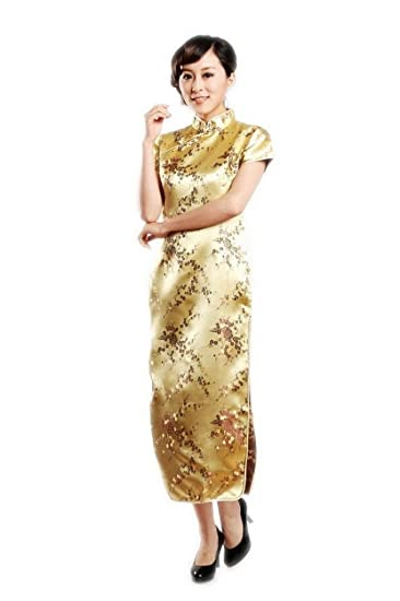 d2182868 Jtc Women's Plum Flower Short Sleeve Cheongsam Dress Gold at Amazon ...