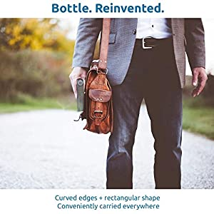 H2GO Flat Bottle for Easy Portability - Travels Well by Sliding into Bag Pockets and In-flight Seat-pockets (Transparent)