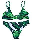 MOOSKINI Womens Printed Leaf Bikini Set Swimsuit (M, Leaf-1)