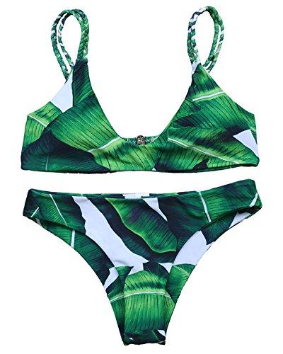 MOOSKINI Womens Printed Leaf Bikini Set Swimsuit M Leaf1