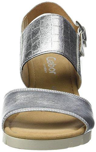 Gabor Women's Comfort Wedge Heels Sandals Silver (Silber Jute) yFQlb