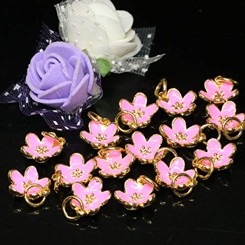 Calvas 10pcs Wholesale Price 11mm Pink Cloisonne Flower Shape Enamel Accessories Gold-Color Bracelets Necklaces Jewelry Making B2483