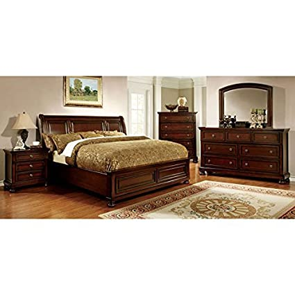 247SHOPATHOME IDF-7682CK-6PC Bedroom Set, California King, Cherry