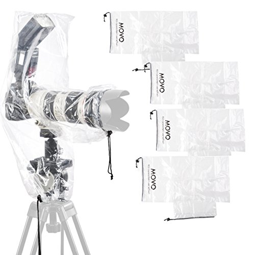 Movo (5 Pack) RC2 Clear Rain Cover for DSLR Camera, Flash, and Lens up to 18