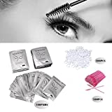 3x100 Packs- Under Eye Pads Lint Free Lash Extension Eye Gel Patches & Eyelash Mascara Brushes Wands Applicator Makeup Brush (300pck)