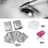 3x100 Packs- Under Eye Pads Lint Free Lash Extension Eye Gel Patches & Eyelash Mascara Brushes Wands Applicator Makeup Brush (300pck)