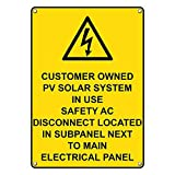 Weatherproof Plastic Vertical Customer Owned PV Solar Sign with English Text and Symbol