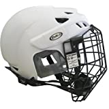 Prostar Deluxe Ice Hockey Helmets with Tool Less Size Adjustment System and Protective Face Cage, White, Medium/Large