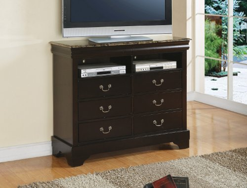 Louis Philippe 6 Drawer, 2 Shelf Media Chest with Imitation Marble Top by Coaster - Media Chest Louis