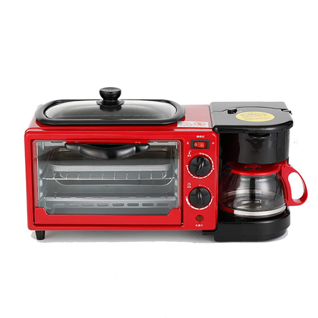NOKUN Family Three-in-One Retro Breakfast Machine, Toaster Oven Pan Three-in-One Multi-Function Breakfast Center, Regular, Black,Red by NOKUN