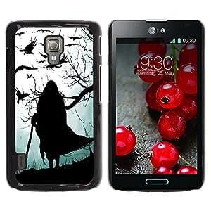 For LG Optimus L7 II P710 / L7X P714 Case , Witch Grey Black Halloween Old - Diseño Patrón Teléfono Caso Cubierta Case Bumper Duro Protección Case Cover Funda