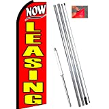 Vista Flags NOW LEASING (Red) Flutter Feather Banner Flag Kit (Flag, Pole, Ground Mt)