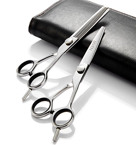 6 Inch Professional Barber Scissor Hair Cutting Set - 1 Straight Edge Hair Scissor, 1 Texturizing Thinning Shears, With Leather Case One Year Warranty by RNMMPI