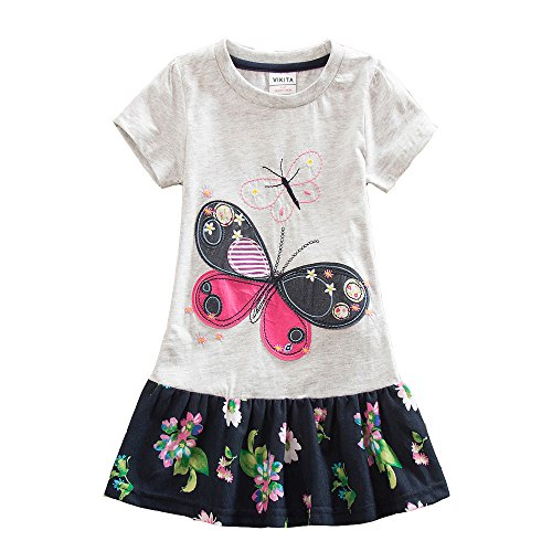 VIKITA Toddler Kid Girls Summer Casual Flower Short Sleeve Cotton Dress SH5460GRAY 7-8 Years