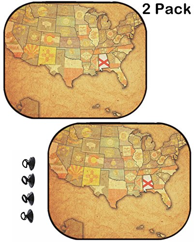 Alabama Sunshade (MSD Car Sun Shade Protector Side Window Block Damaging UV Rays Sunlight Heat for All Vehicles, 2 Pack Image 24015635 Alabama on Old Vintage map of USA with State Borders)