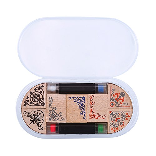 Clay Lace (DECORA 7pcs Flowers Wooden Rubber Stamp Box -Vintage Print Style -flowers Capital Classical Angle Lace Stamps and 2 Ink Pad Pen in one Sets)