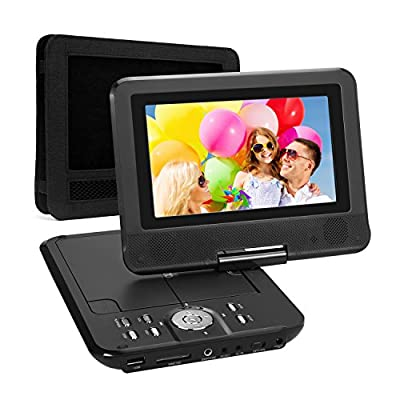 NAVISKAUTO 7 Inch HD Portable DVD/CD/MP3 Player USB/SD Card Reader with 4-5 Hour Built-In Rechargeable Battery, 270° Swivel Screen, 3m AC/DC Adapter and Customized Car Headrest Mount Case-Black from Sokesi