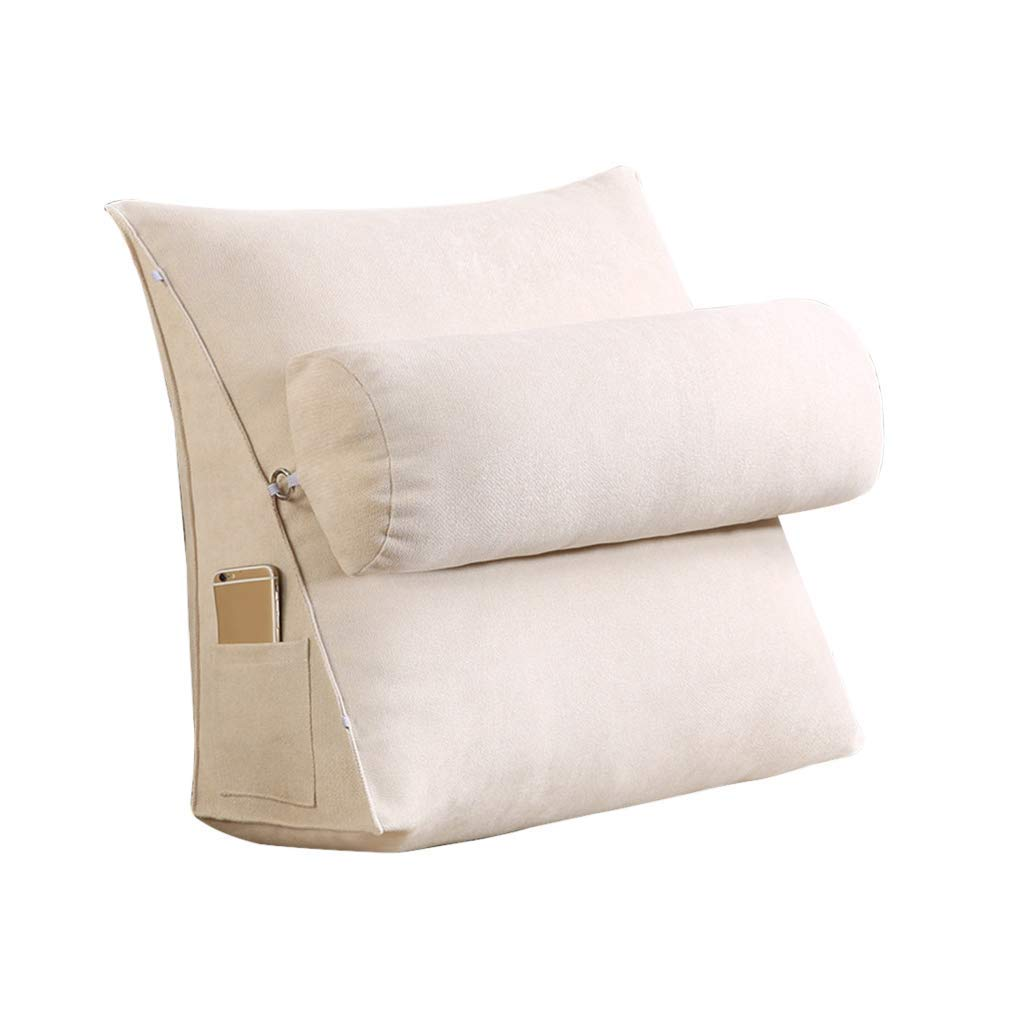 Lil Band Head Pillow Triangle Cushion, Sofa Office Bay Window Lumbar Pillow/Lumbar Support Waist/Pillow (can Be Adjusted in Three Steps) (Color : Khaki, Size : 45x45x20cm)