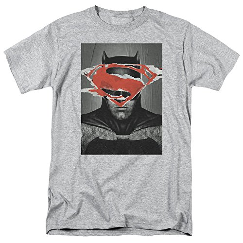 Trevco Men's Batman v Superman Short Sleeve T-Shirt, Bvs Poster Athletic Heather, -