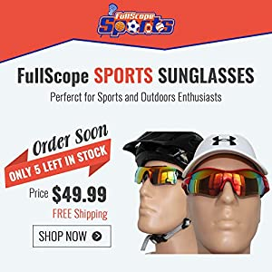 FullScope Sports Polarized Sunglasses With Interchangeable Lenses Cycling Running Driving Fishing Golf.