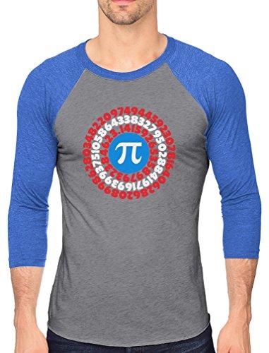 Tstars Pi Day Superhero Captain Pi Gift for Math Geeks 3/4 Sleeve Baseball Jersey Shirt XX-Large Blue/Gray