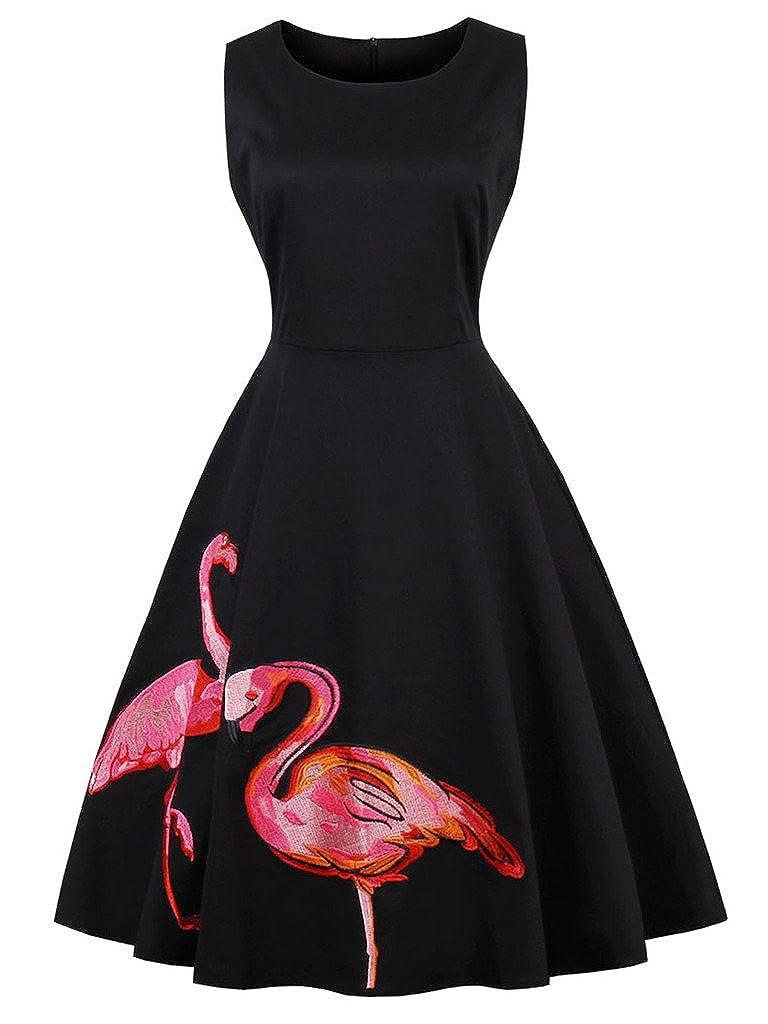 TALLA 4XL. FAIRY COUPLE 50s Vestido de Partido Floral Retro del Oscilación del Cóctel del Vintage con el Arco DRT017 Flamenco Negro 4XL