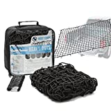 "#1: ROCKET STRAPS - Cargo Net 4'X6' Stretches to 7.2'X10.5' | Heavy Duty 5mm Tightly Woven 3""X3"" Mesh No Gaps In Securing Cargo Loads To Trucks & Trailers 
